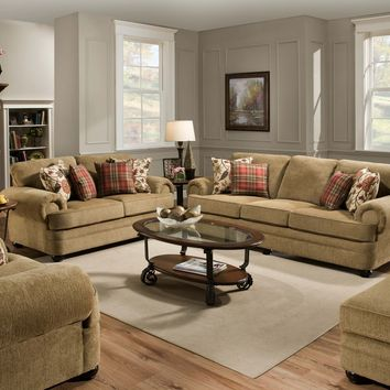 Simmons 7530 Thunder Topaz Sofa and Loveseat