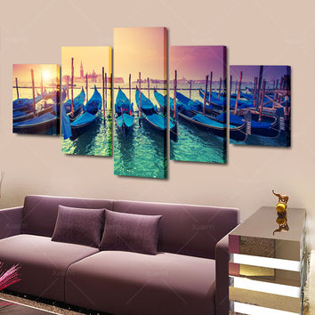 5 Pieces Sunset Blue Boats Seascape Modern Home Wall Decor Canvas Picture Art HD Print Painting On Canvas For Living Room Framed
