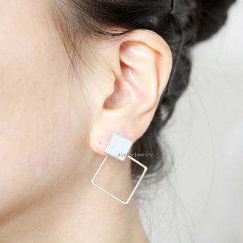 Squares, Square Front and Back earrings,Cube Front and Back earrings in 2 colors, E0849S