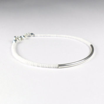 White Seed Bead Stacking Friendship Bracelet with Sterling Silver Tube Minimalist Jewellery
