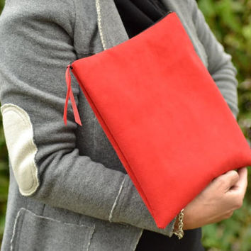 Clutch Bag in red suede / hand bag / clutch bag for women / clutch foldable / clutch / evening bag in suede / wallet / red purse / for her