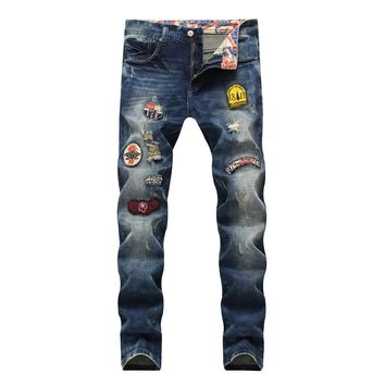 Men Ripped Holes Rinsed Denim Club Jeans [1574710837341]