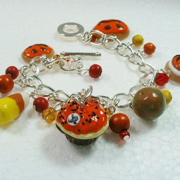 Halloween Food Charm Bracelet . Polymer clay.