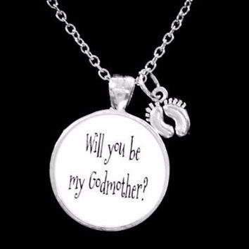Will You Be My Godmother Baby Feet Gift Necklace