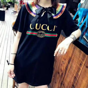 """Gucci"" Women Casual Fashion Bow Letter Print Short Sleeve Medium Long Section T-shirt Mini Dress"