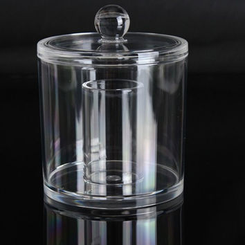 Acrylic Clear Cotton Swabs Organizer Cosmetic Storage Holder Case