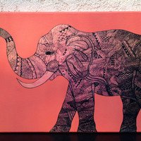 Tribal Elephant Canvas Wall Art (Multiple Colors)