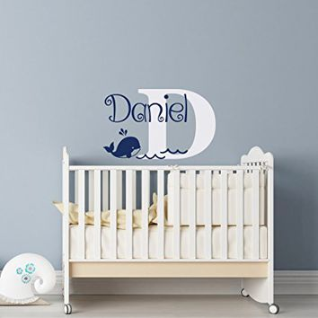 Whale Name Wall Decal Boy - Personalized Whale Nursery Decor - Personalized Baby Boy Gifts - Custom Name Boy Decal Nautical Nursery Decor