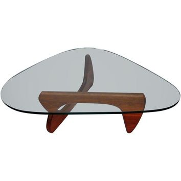 Pre-owned Noguchi Style Walnut & Glass Coffee Table