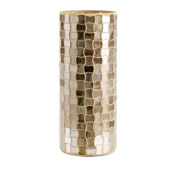 Christmas Large Glass Mosaic Hurricane - Gold - Benzara