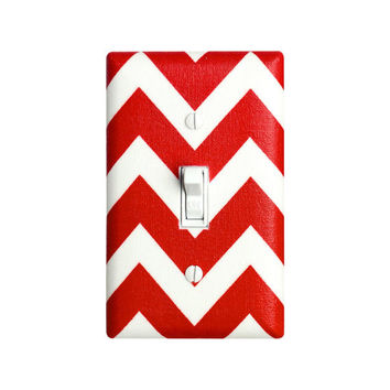 Chevron Light Switch Plate Cover / Red and White / Zig Zags by Robert Kaufman / Slightly Smitten Kitten