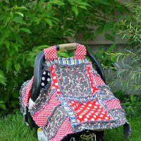 Pirate Car Seat Cover, Baby Carseat Canopy,  Blue Red Black, Ready to Ship