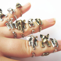 Animal Rings, Bunny Ring, Rabbit Ring, Puppy Ring, Dog Ring, Elephant Ring, Giraffe Ring, Cocker Spaniel Ring, French Bulldog Ring