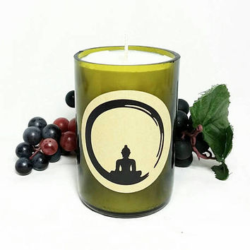 Wine Bottle Soy Candles/Buddha Meditation Scented Soy Wax Candle/Recycled Bottle Tuscan Wine Scent/Spiritual