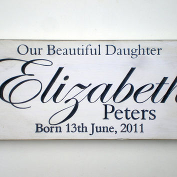 Personalized Name Commemorative Birth Carved Wood Sign