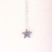 Silver Star Charm Draped Chain Choker Necklace