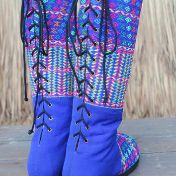 Vegan Moccasin Style Tall Womens Boots Brilliant Blue With Rainbow Accents Lace up  oho Boots - Viva