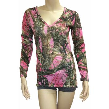 Women's V-Neck Long Sleeve Camo Shirt True Timber Made in the USA