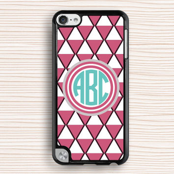 pink triangle ipod case,monogram ipod touch 4 case,pink pattern ipod touch 5 case,art triangle ipod 4 case,nameable ipod 5 case,art touch 4 case,personalized touch 5 case