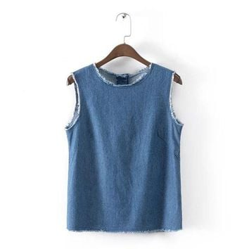 WT102 fashion womens' sexy blue denim crop shirt sleeveless vintage back buttons tank shirt casual brand designer tops