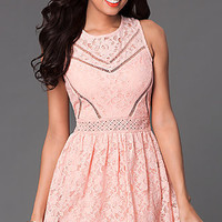 Short Sleeveless Casual Lace Dress