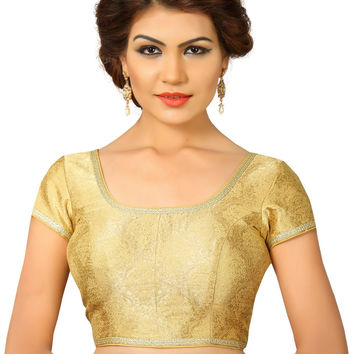 Saris and Things Gold Brocade Fancy Back Open Saree Blouse Choli SNT-X-358-GOLD