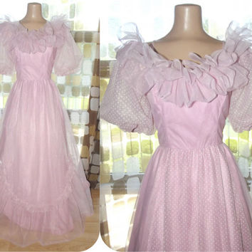 Vintage 70s PINK Chiffon Southern Belle Ball Gown Formal Bridesmaid Princess Dress Glinda Witch S/M
