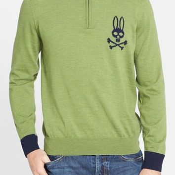 Men's Psycho Bunny 'Cortina' Lambswool Quarter Zip Sweater