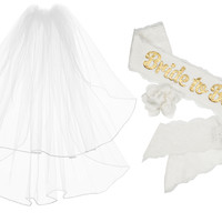 "COMBO PACK: Rhinestone Veil & ""Bride to Be"" Sash"