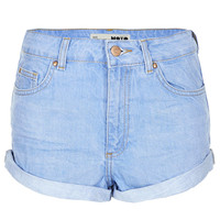 MOTO Blue High Waisted Hotpant - Topshop USA