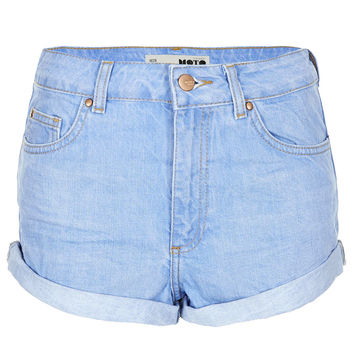 MOTO Blue High Waisted Hotpant - Shorts - Topshop