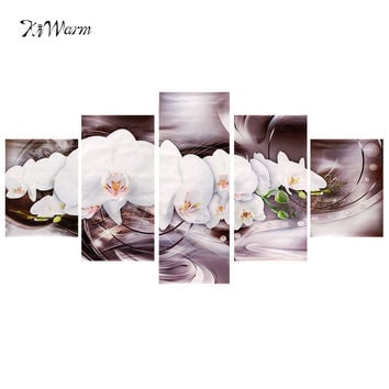 5pcs/set Modern Flower Abstract Art Canvas Oil Painting Home White Lotus Pattern