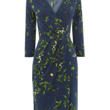 FLORAL VINE WRAP DRESS