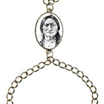 Chief Sitting Bull Native American Indian Bronze Gold Chain Slave Bracelet Adjustable