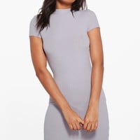 Ali High Neck Cap Sleeve Rib Bodycon Dress | Boohoo