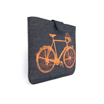 IPad sleeve Orange vintage bicycle print on by ClassicByNature