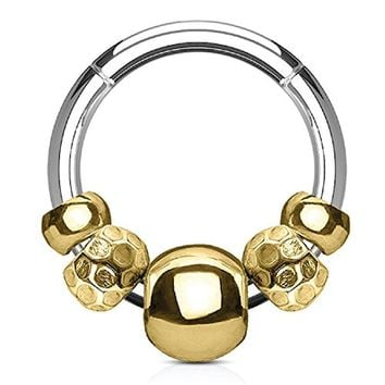 BodyJ4You 16G (1.2mm) Nose Hoop Seamless Hinged Segment Ring Goldtone Disco Beads Surgical Steel Septum