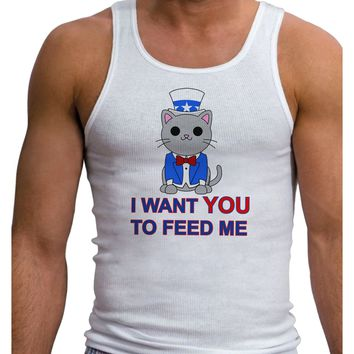 Patriotic Cat I Want You Mens Ribbed Tank Top by TooLoud
