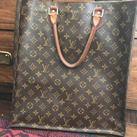 VINTAGE LOUIS VUITTON Brown Monogram Canvas Sac Plat Tote Bag
