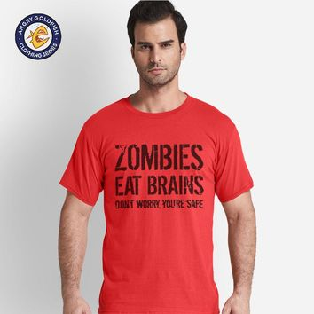 Mens Zombies Eat Brains Shirt Funny Zombie T shirts Living Dead Zombie Outbreak Tees Fashion Hip Hop Streetwear Tops