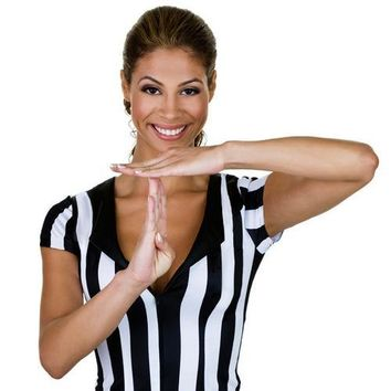 Women's Official Striped Referee/Umpire Jersey, XL