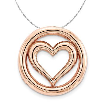 Rose-Tone Sterling Silver Stackable Small Heart Slide, 12mm Necklace