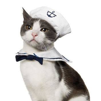 Small Dog Cat Kitten Puppy Pet Sailor Outfit Costume 2pcs Hat &Cape