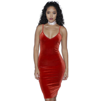 Sexy Red Velvet Dress Women Summer Straps Sleeveless Deep V Zip Backless Black Elegant Bodycon Bandage Birthday Party Dresses