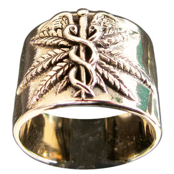 Medical Marijuana Ring Ganja Leaf Bronze Band Ring with Antiquated Finish