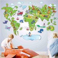 [Fundecor Monopoly] new removable cartoon animal park map wall stickers nursery children's room wall decor stickers decals 5345