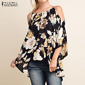 Plus Size 2017 ZANZEA Women Sexy Blouses Shirts Ladies Sexy Off Shoulder 3/4 Flare Sleeve Blusas Tops Elegant Print Pullovers