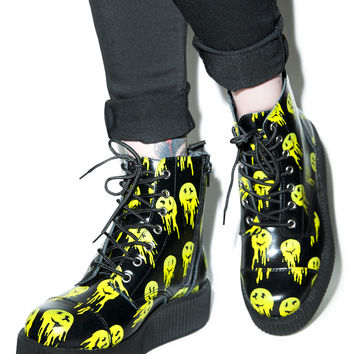 T.U.K. Smiley Viva 7 Eye Leather Boots Black