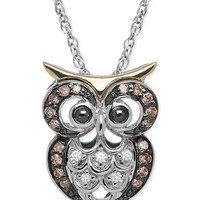 White and Chocolate Diamond Owl Pendant Necklace (1/10 ct. t.w.) in Sterling Silver and 14k Gold