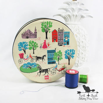 Vintage Sewing Tin, Colorful Horse and Buggy Design, Filled With Collectible Sewing Notions, Nostalgic 50's Memorabilia, Shabby Home Decor